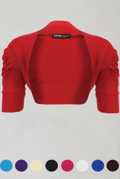 Ruched Cotton Bolero Shrug