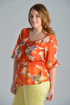 Sheer Orange Tomato Print Blouse