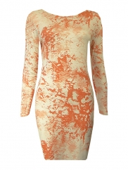 Coral Tie Dye Bodycon Mini Dress