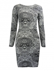 White Skull Print Bodycon Mini Dress