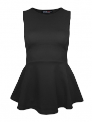 Black Plain Peplum Top