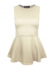 Cream Plain Peplum Top