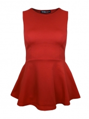 Red Plain Peplum Top