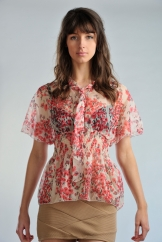 Cream Floral Sheer Blouse