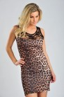 Lace Panel Animal Print Dress